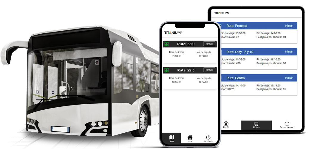 Camión de transporte de personal con app para celular y tablet